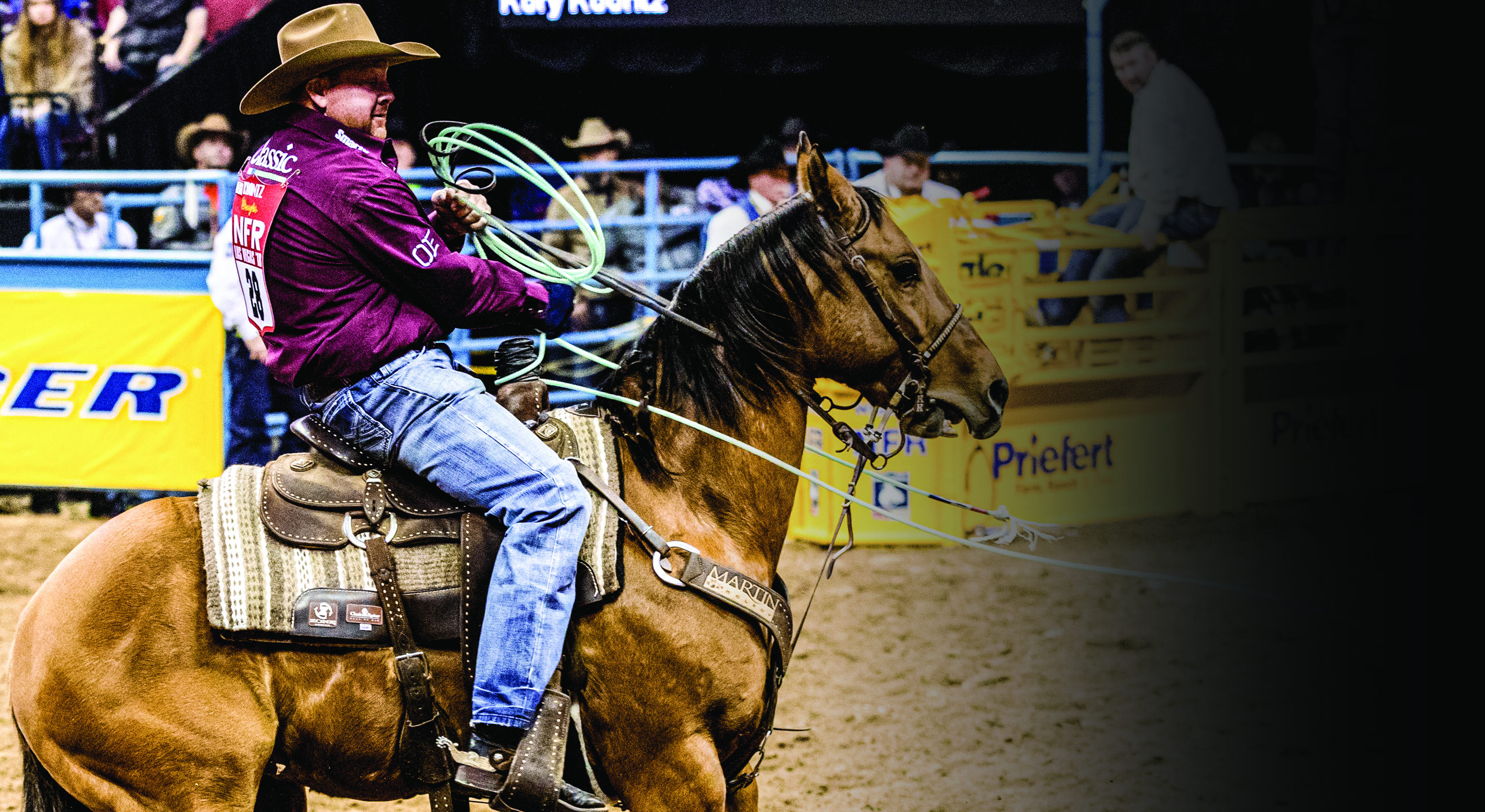Kory Koontz, Professional Team Roper, competes with a Zone saddle pad