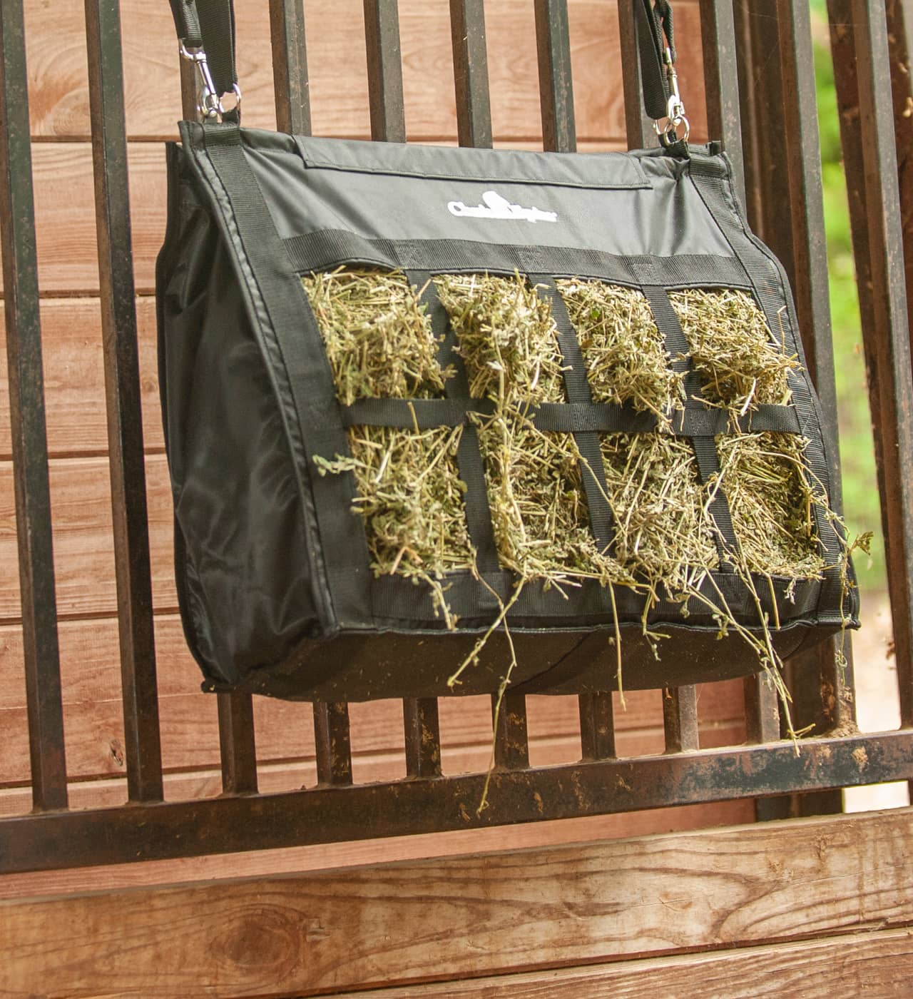 Classic Equine Hay Bags provide hay for horses in the barn or while traveling